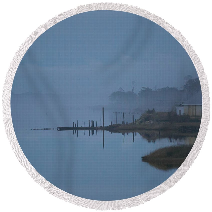 Cedar Island Round Beach Towel featuring the photograph Bay Mist by Paula OMalley