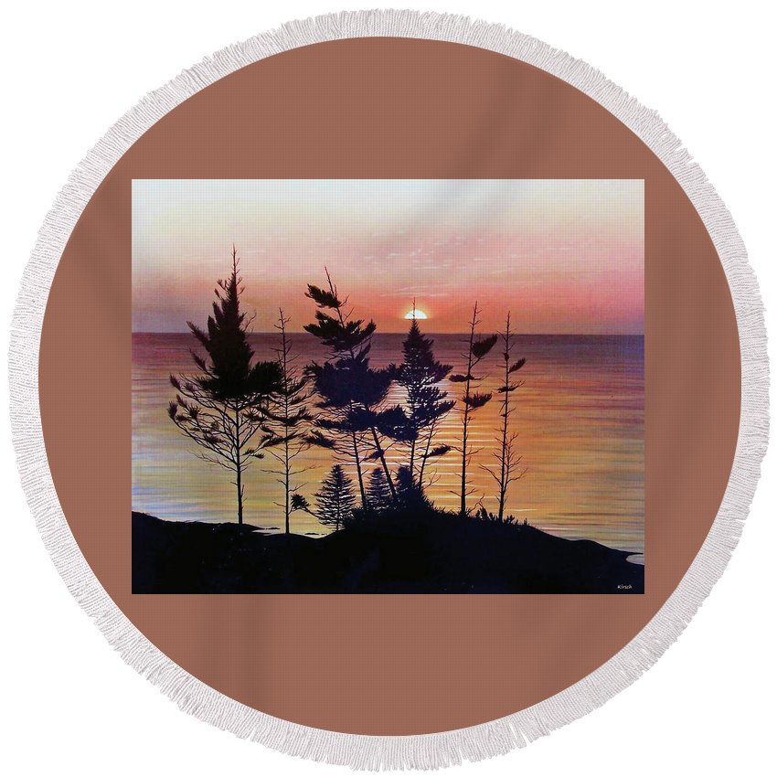 Bay Of Fundy Round Beach Towel featuring the painting Bay Of Fundy Sunset by Kenneth M Kirsch