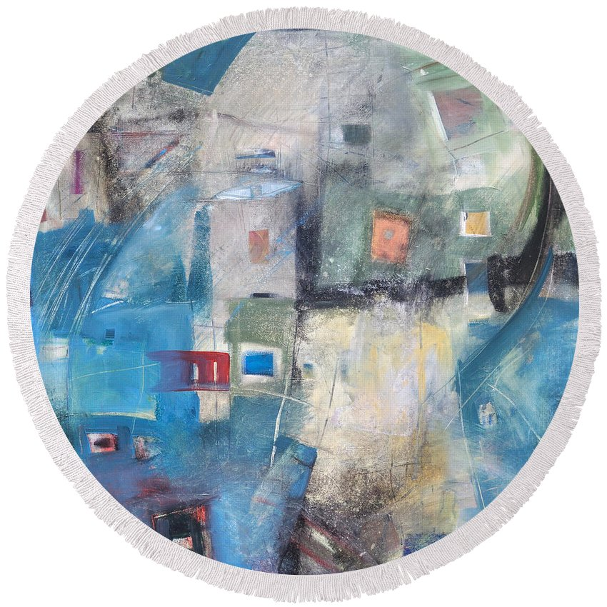 Abstract Round Beach Towel featuring the painting Bayer Works Wonders by Tim Nyberg