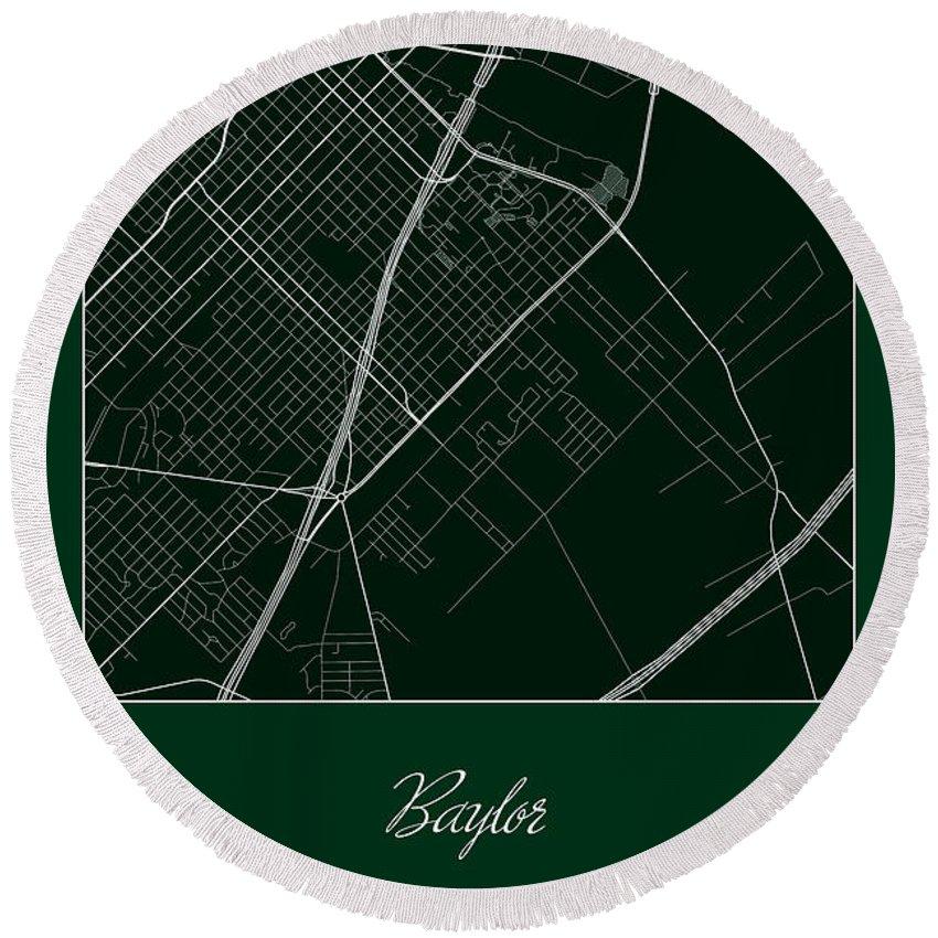 Road Map Round Beach Towel featuring the digital art Baylor Street Map - Baylor University Waco Map by Jurq Studio