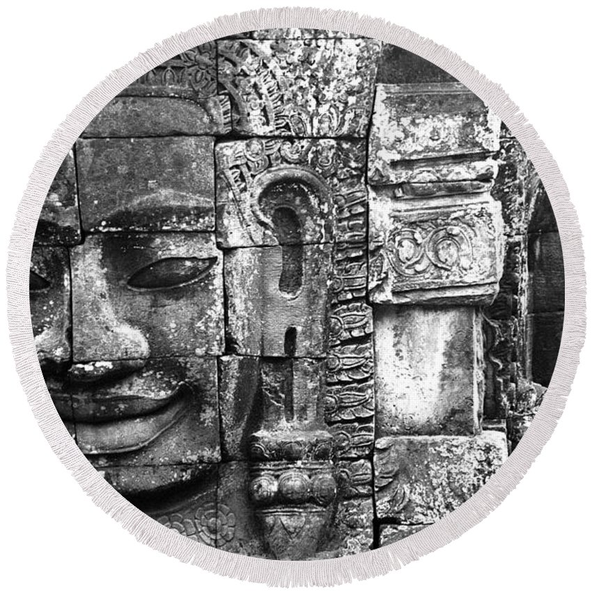Bayon Temple Round Beach Towel featuring the photograph Bayon IIi by Patrick Klauss