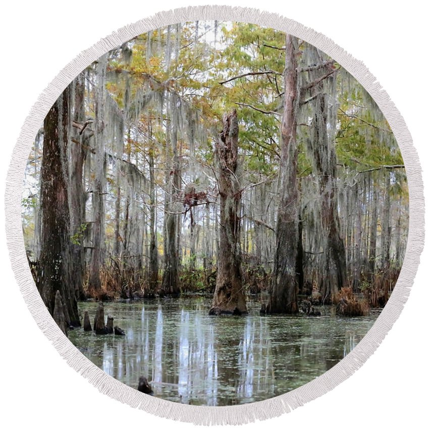 Louisiana Round Beach Towel featuring the photograph Bayou Magic by Carol Groenen