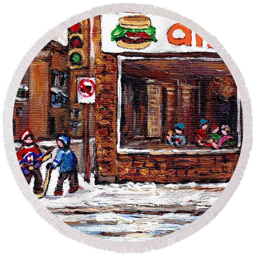 Original Montreal Paintings For Sale Round Beach Towel featuring the painting Scenes De Rue De Montreal St Henri Partie De Hockey En Hiver Hockey At Dilallo's Burger by Carole Spandau