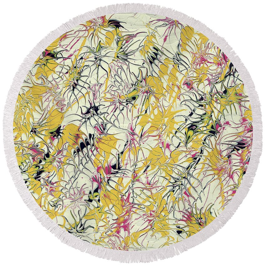 Keith Elliott Round Beach Towel featuring the painting Bumble Bees Against The Windshield - V1cs65 by Keith Elliott