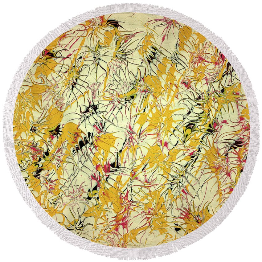 Keith Elliott Round Beach Towel featuring the painting Bumble Bees Against The Windshield - V1ls75 by Keith Elliott