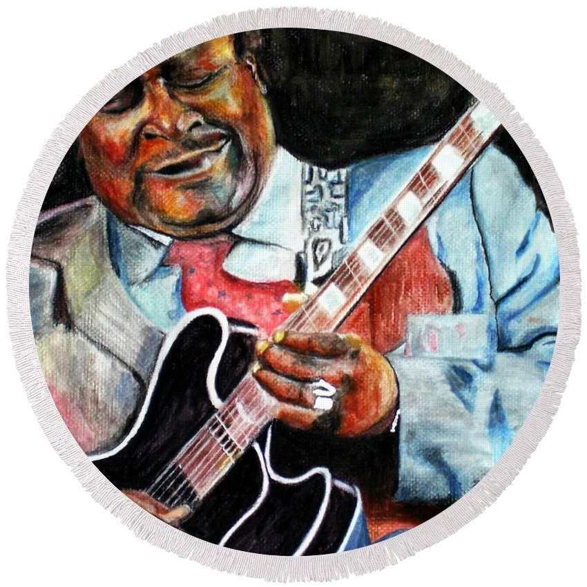 Bbking Round Beach Towel featuring the painting Bbking by Frances Marino