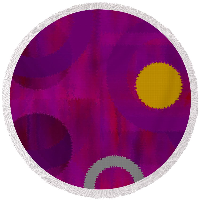 Abstract Round Beach Towel featuring the digital art Be Happy II by Ruth Palmer