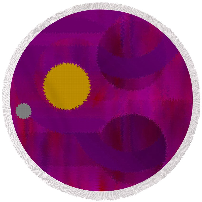 Abstract Round Beach Towel featuring the digital art Be Happy by Ruth Palmer