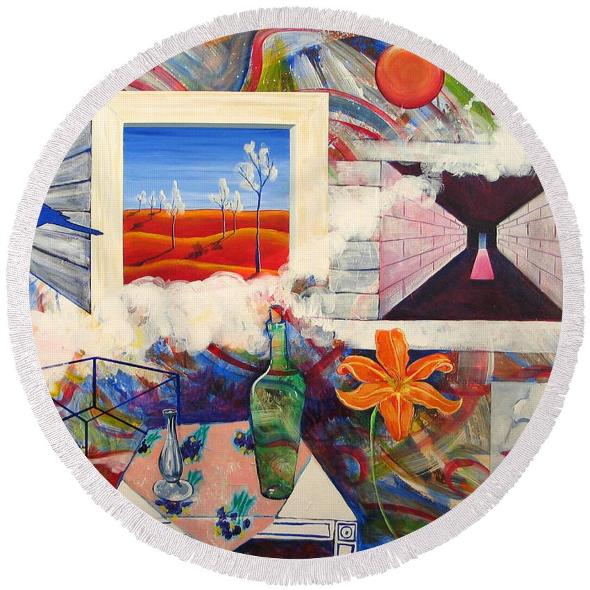 Landscape Round Beach Towel featuring the painting Be Here Now by Rollin Kocsis