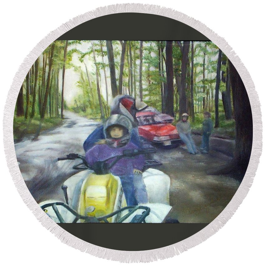 Quad Round Beach Towel featuring the painting Be Right Back by Sheila Mashaw
