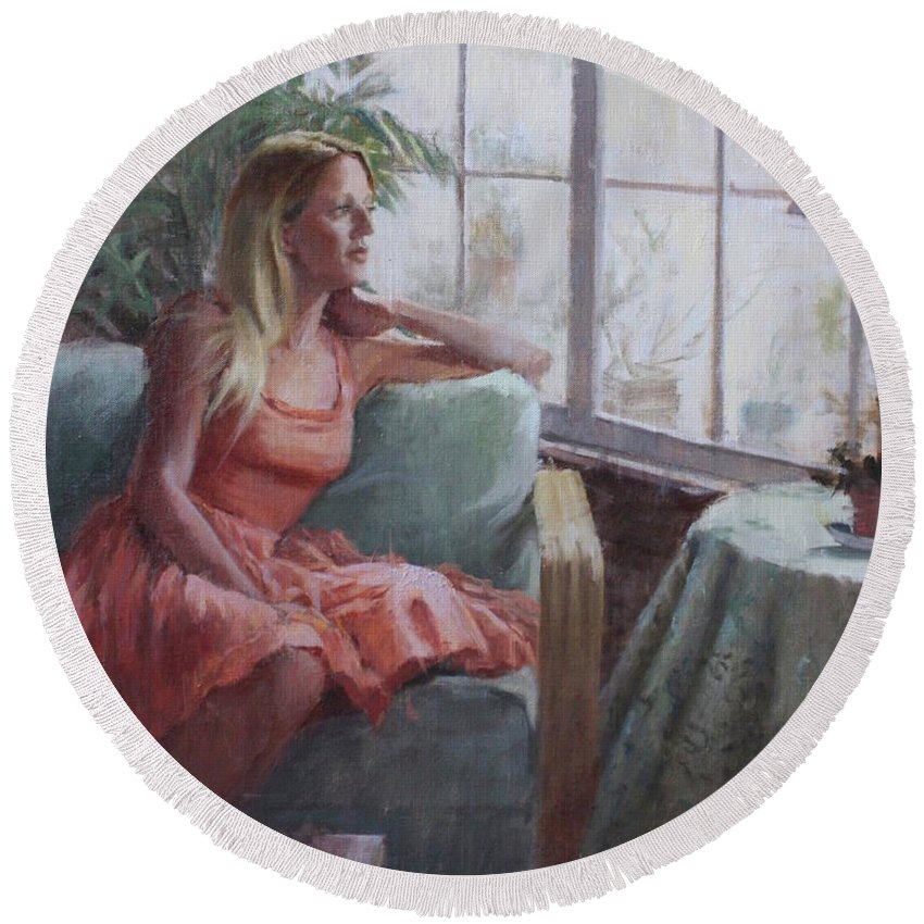 Portrait Round Beach Towel featuring the painting Be Still My Soul by Hope Reis