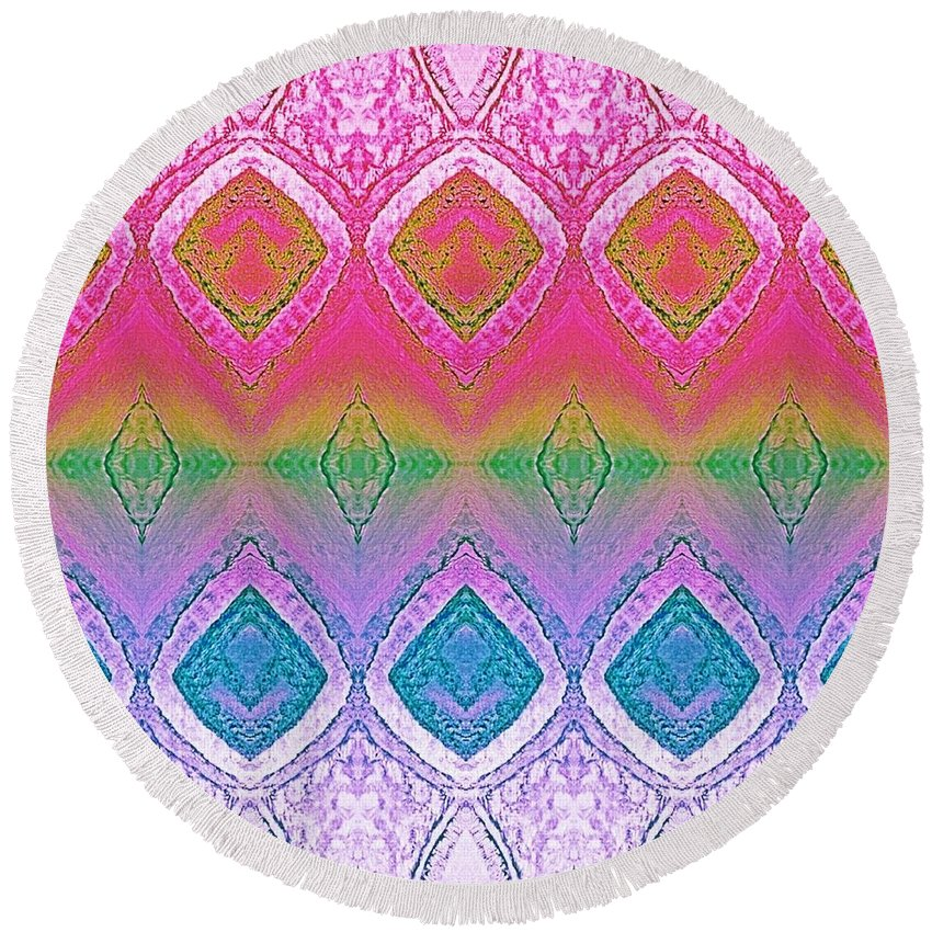 Be Round Beach Towel featuring the painting Be Whimsical by Rachel Hannah
