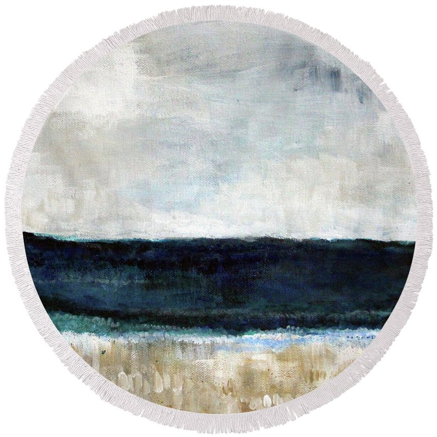 Beach Round Beach Towel featuring the painting Beach- abstract painting by Linda Woods