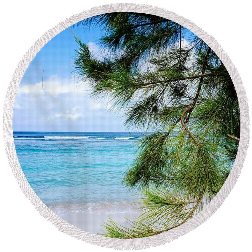 Beach Round Beach Towel featuring the photograph Beach Among The Trees by Jade Phoenix