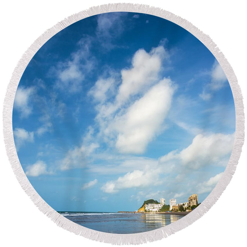 Same Round Beach Towel featuring the photograph Beach And Sky In Ecuador by Jess Kraft