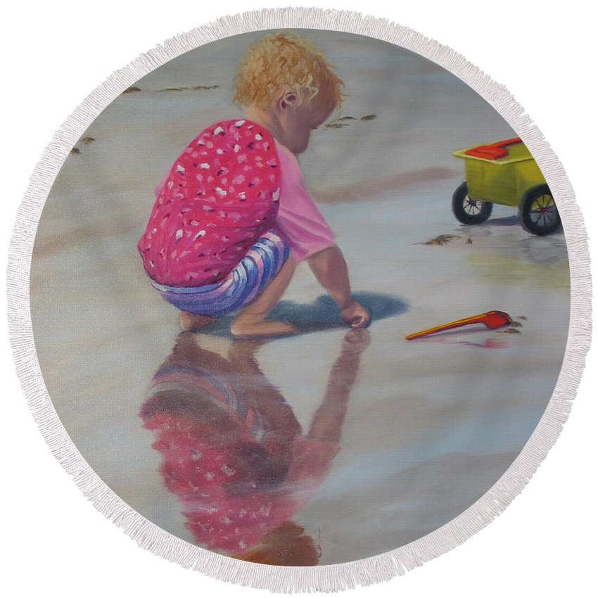 Baby Round Beach Towel featuring the painting Beach Baby by Lea Novak
