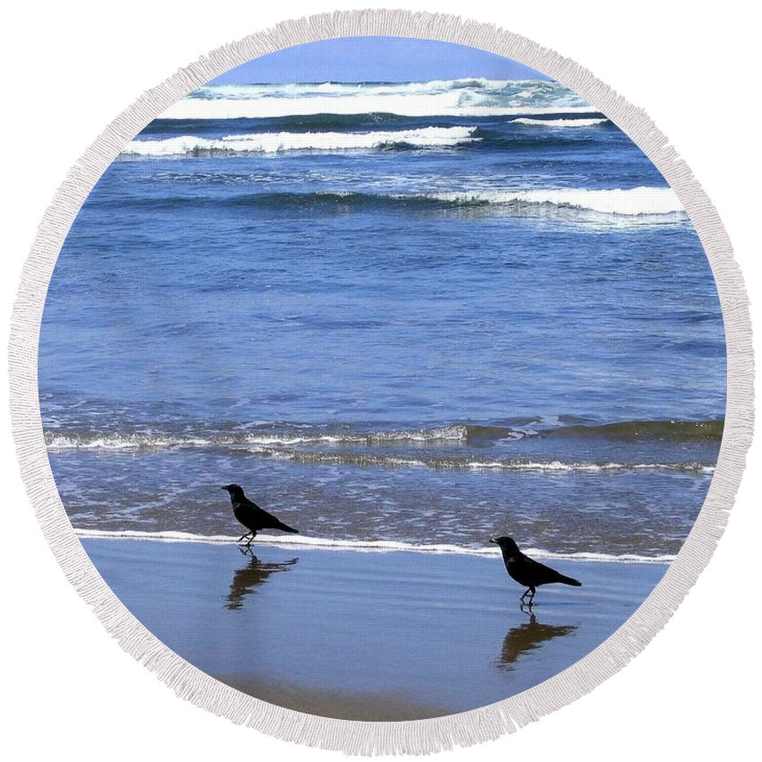 Crows Round Beach Towel featuring the photograph Beach Buddies by Will Borden
