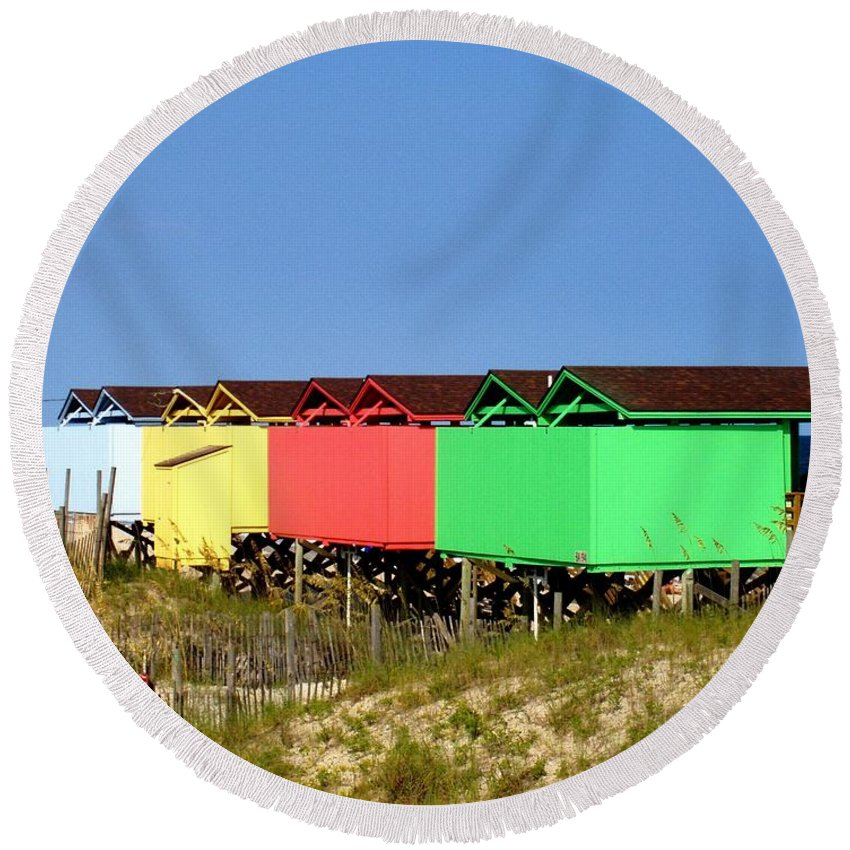 Beach Round Beach Towel featuring the photograph Beach Cabanas by Deborah Crew-Johnson