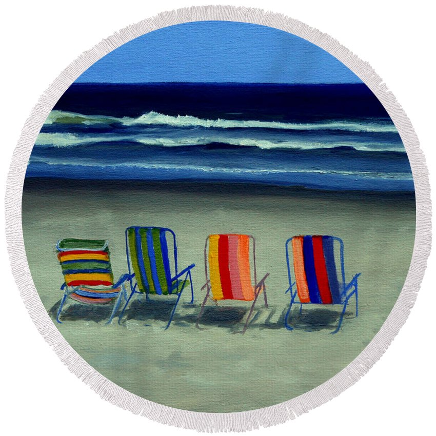 Beach Round Beach Towel featuring the painting Beach Chairs by Paul Walsh