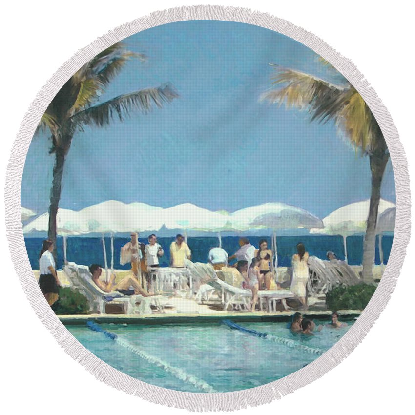 Landscape Round Beach Towel featuring the painting Beach Club by Thomas Tribby