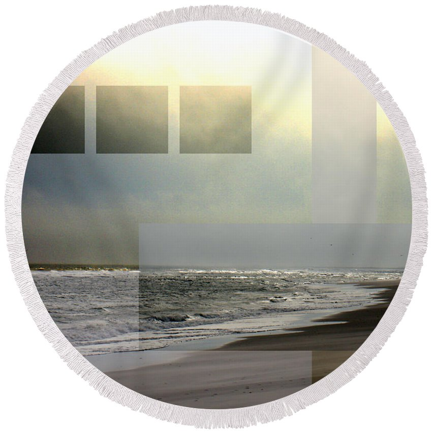 Beach Round Beach Towel featuring the photograph Beach Collage 2 by Steve Karol
