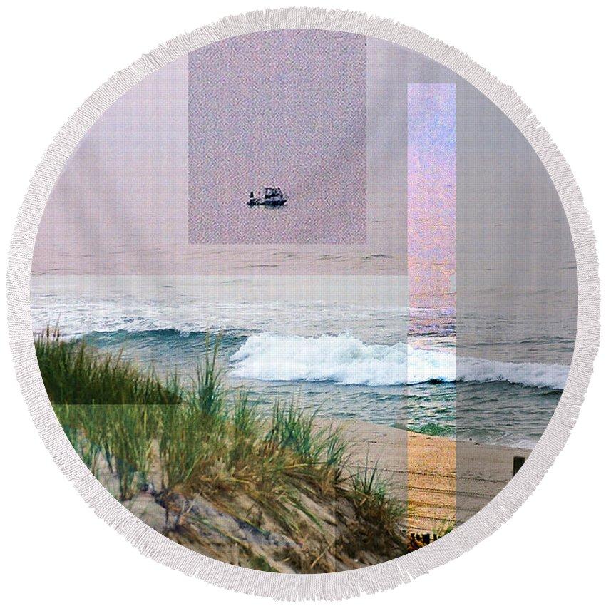Landscape Round Beach Towel featuring the digital art Beach Collage 3 by Steve Karol