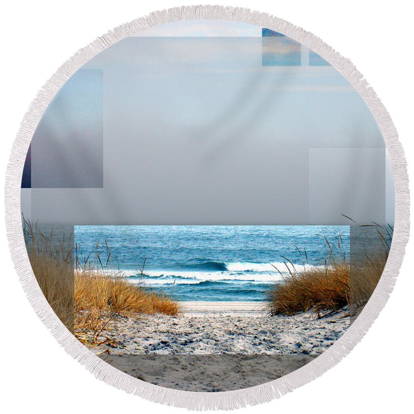 Beach Round Beach Towel featuring the photograph Beach Collage by Steve Karol