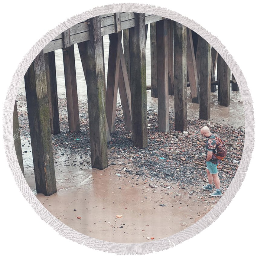 London Round Beach Towel featuring the photograph Beach Combing by Andy Denial