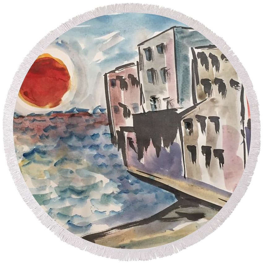 Sunset Beach Condo Sand Vacation Round Beach Towel featuring the painting Beach Condos by Ken Blacktop Gentle