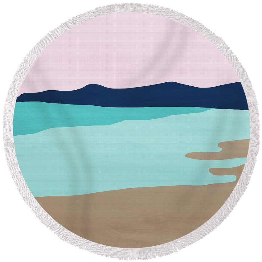 Beach Round Beach Towel featuring the mixed media Beach Cove- Art by Linda Woods by Linda Woods