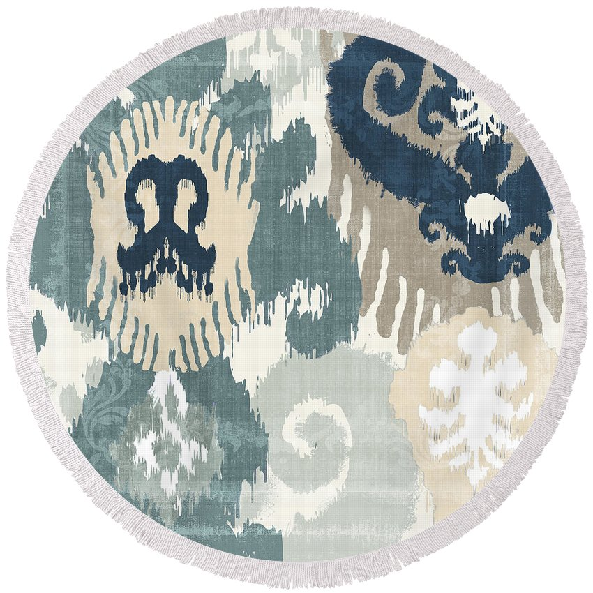 Ikat Round Beach Towel featuring the painting Beach Curry IIi by Mindy Sommers
