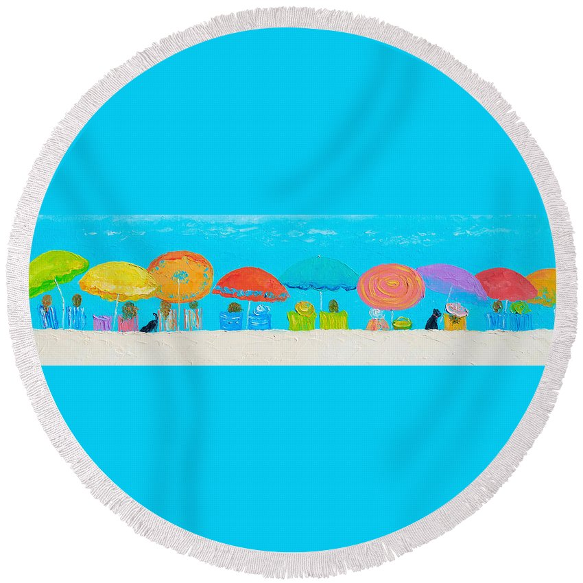 Beach Round Beach Towel featuring the painting Beach Decor - Umbrellas Panorama by Jan Matson