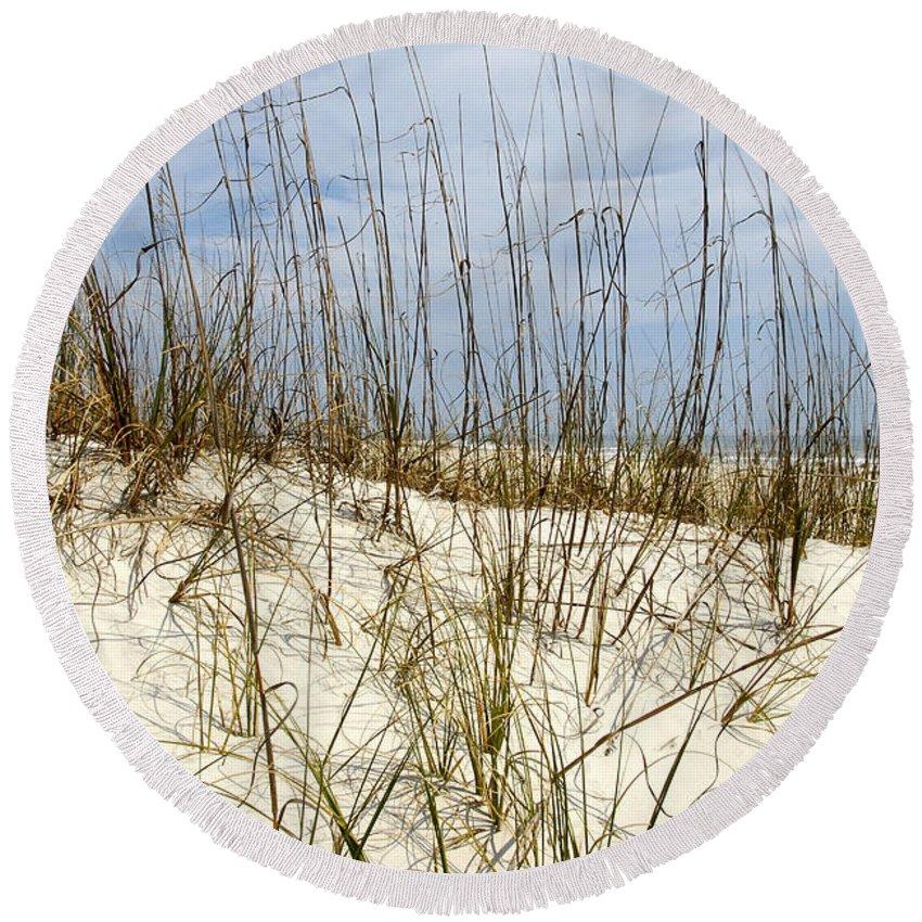 Beach Round Beach Towel featuring the photograph Beach Dunes by David Lee Thompson