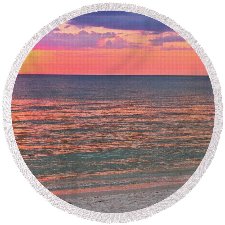 Beach Round Beach Towel featuring the photograph Beach Girl And Sunset by Scott Mahon