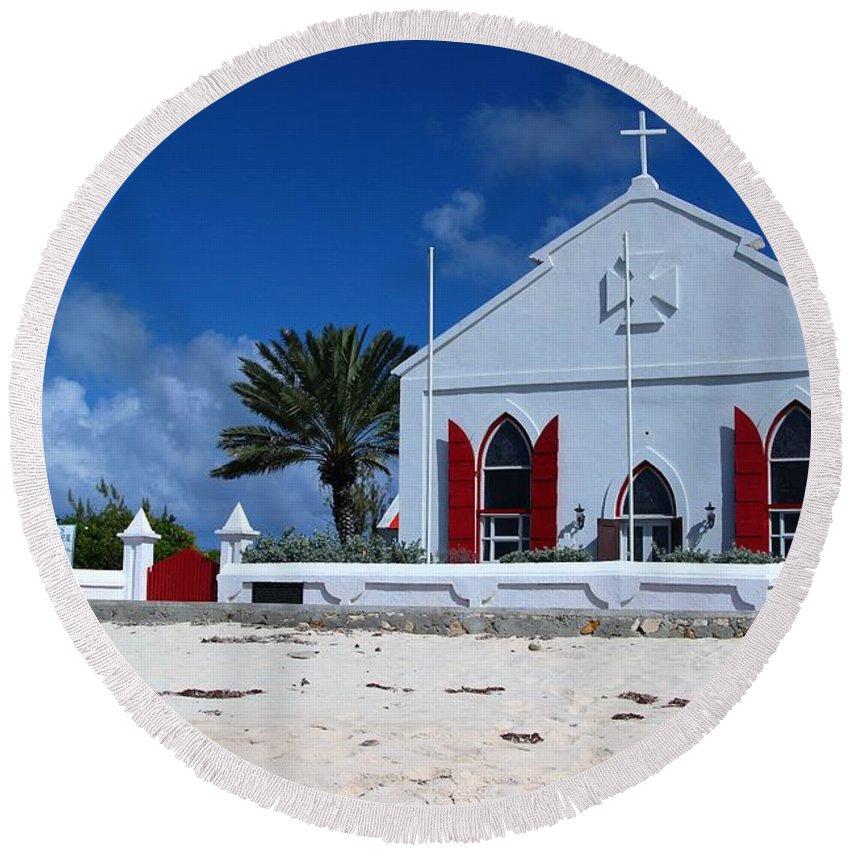 Beach Grand Turk Church Round Beach Towel featuring the photograph Beach Grand Turk Church by Robert Smith