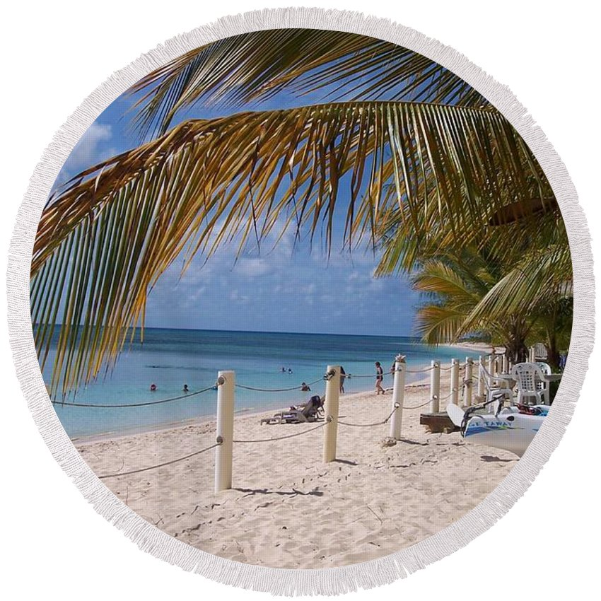 Beach Round Beach Towel featuring the photograph Beach Grand Turk by Debbi Granruth