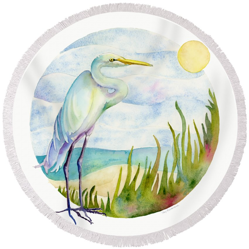 Heron Round Beach Towels