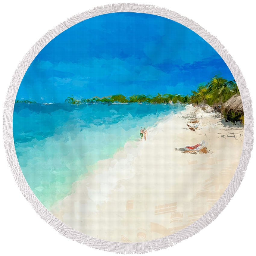 Anthony Fishburne Round Beach Towel featuring the mixed media Beach Holiday by Anthony Fishburne