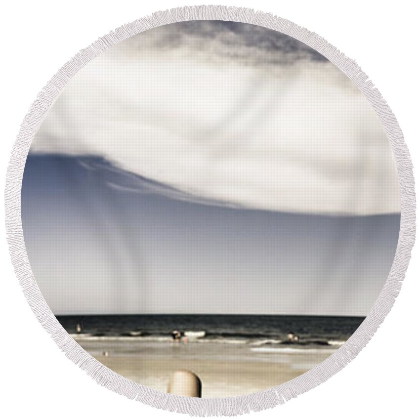 Beach Round Beach Towel featuring the photograph Beach Holiday Man Vertical Panorama by Jorgo Photography - Wall Art Gallery