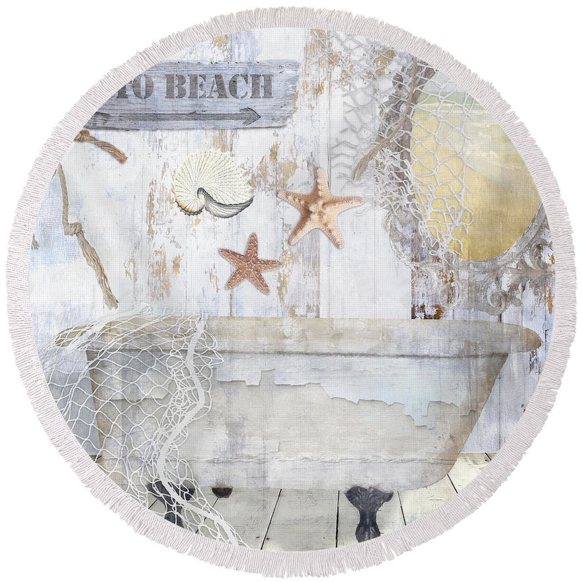 Vintage Round Beach Towel featuring the painting Beach House Bath by Mindy Sommers