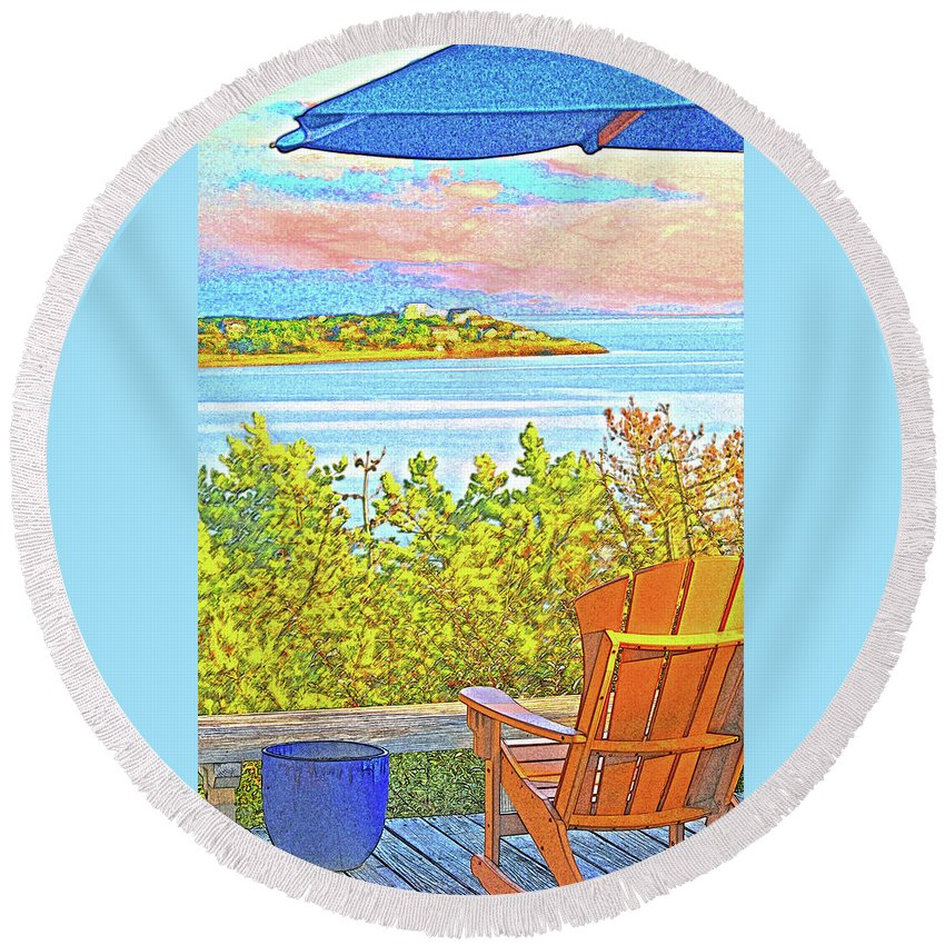 Summer Round Beach Towel featuring the digital art Beach House On The Bay by William Sargent
