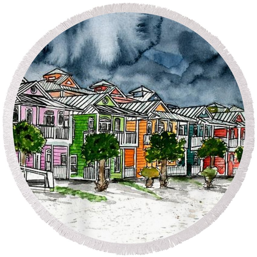 Watercolor Round Beach Towel featuring the painting Beach Houses Watercolor Painting by Derek Mccrea