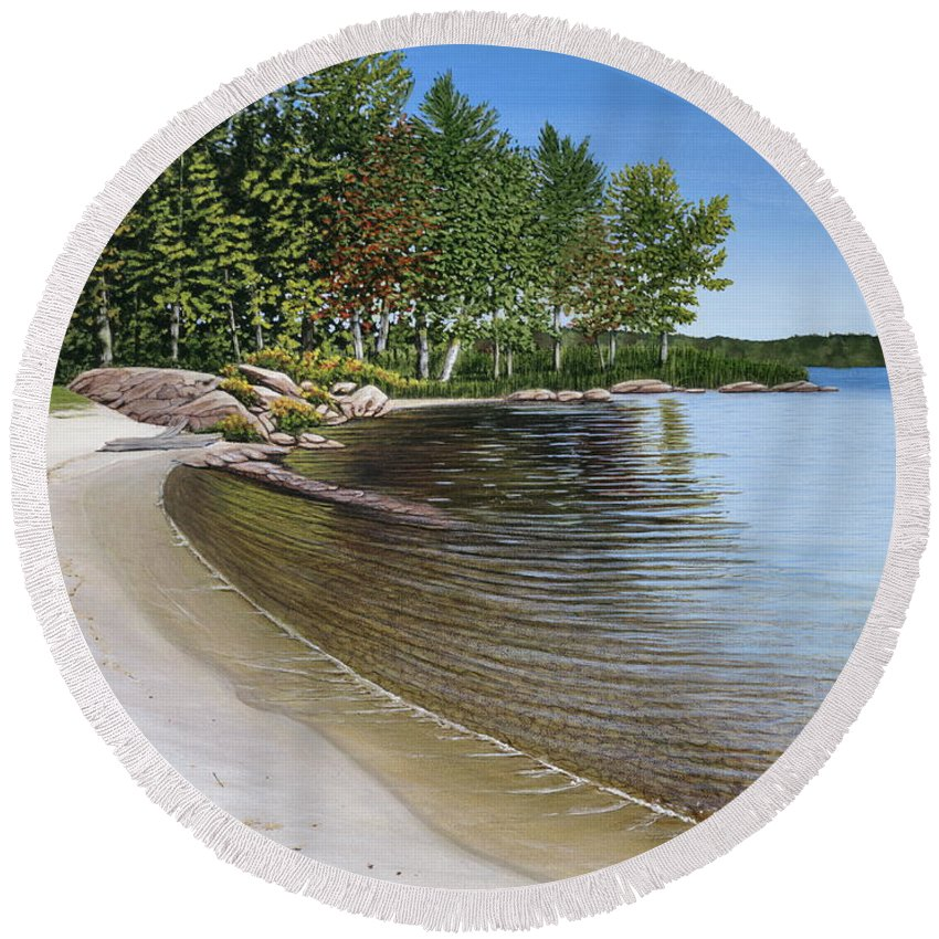 Landscapes Round Beach Towel featuring the painting Beach In Muskoka by Kenneth M Kirsch