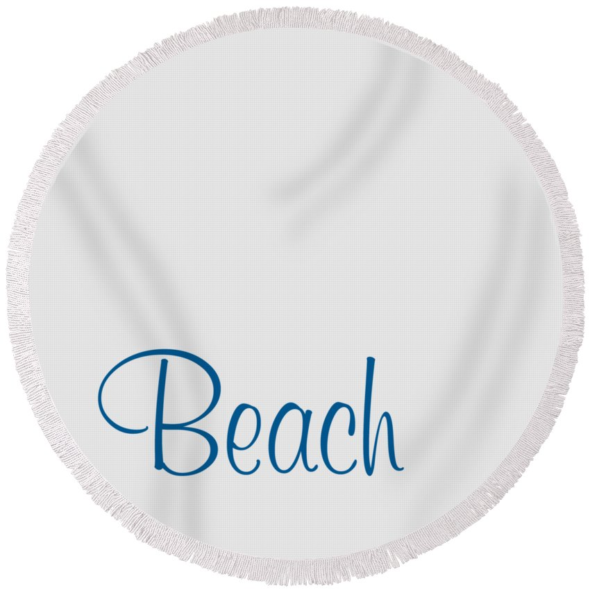 Beach Round Beach Towel featuring the digital art Beach In Sega Blue by Custom Home Fashions