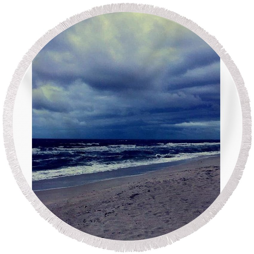 Round Beach Towel featuring the photograph Beach by Kristina Lebron