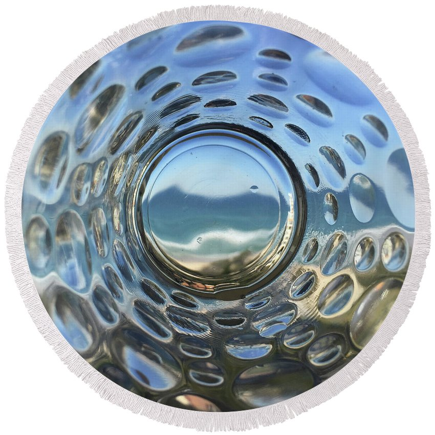 Abstract Round Beach Towel featuring the photograph Beach Life Through The Looking Glass by Az Jackson