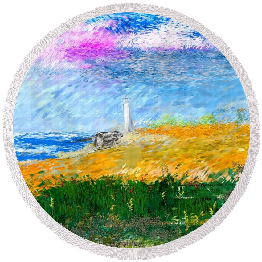 Digital Painting Round Beach Towel featuring the digital art Beach Lighthouse by David Lane