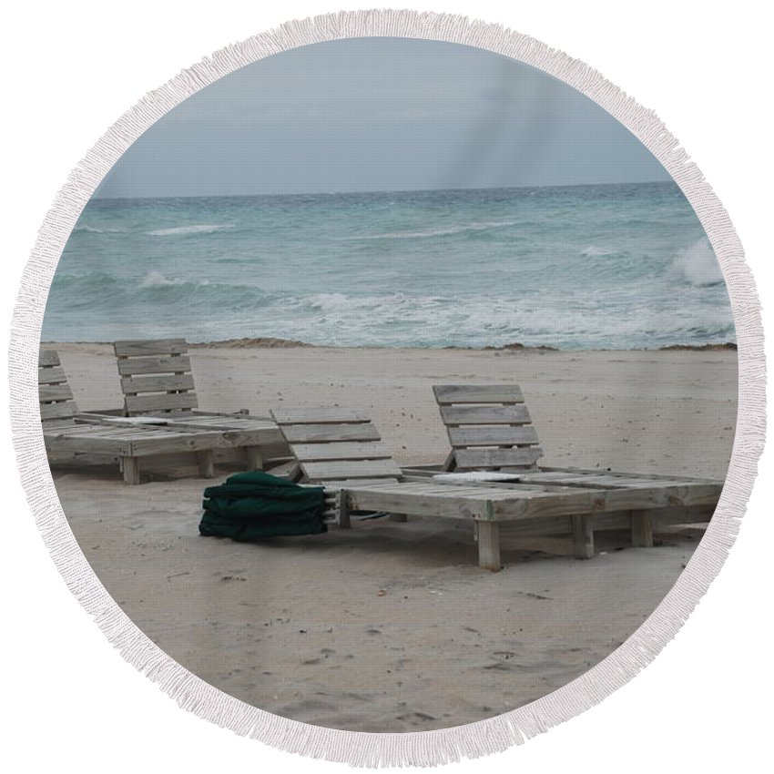 Chairs Round Beach Towel featuring the photograph Beach Loungers by Rob Hans
