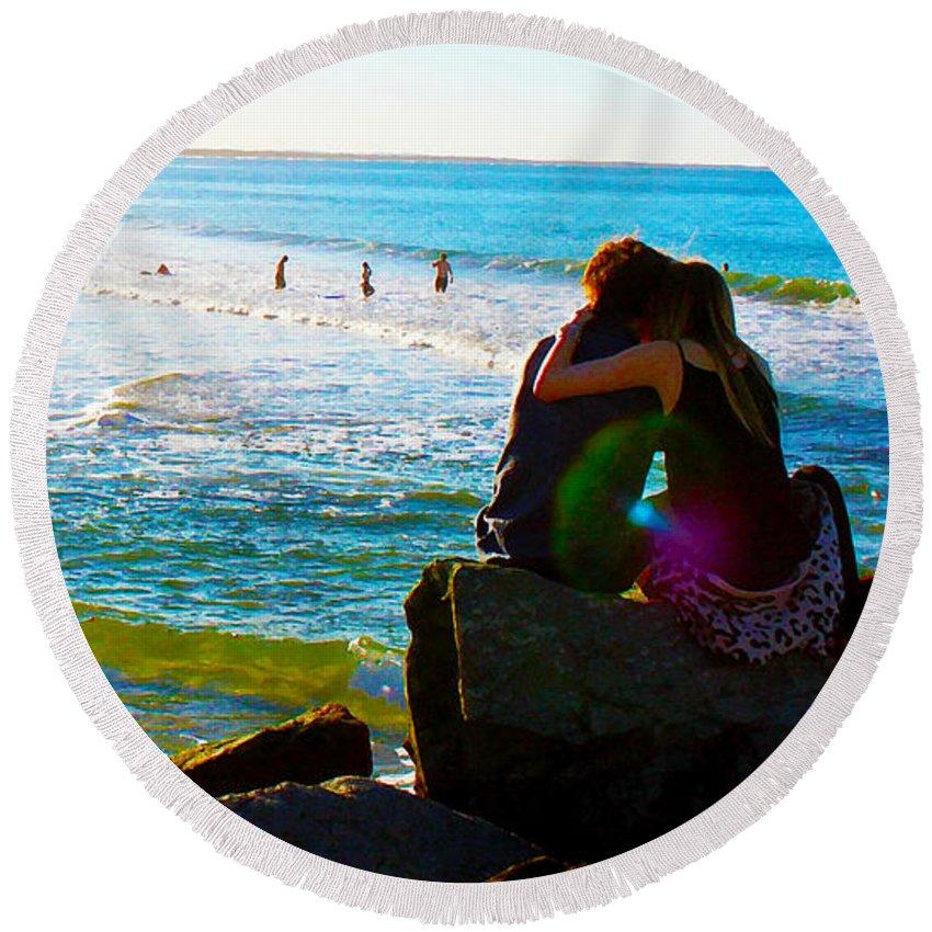 Noosa Round Beach Towel featuring the pyrography Beach Magic by Susan Vineyard