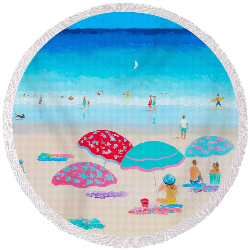 Beach Round Beach Towel featuring the painting Beach Painting - A Golden Day by Jan Matson
